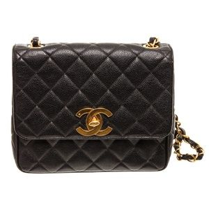 Chanel Vintage Black Leather Single Flap Bag